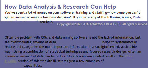 Data Analysis and Research Home Page