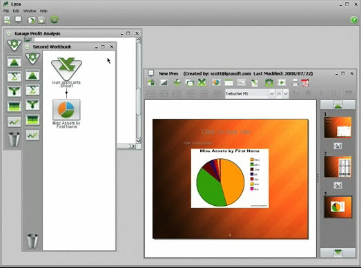 Lyzasoft PowerPoint Slide with Pie Chart