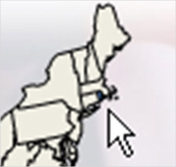 Close-up of Rhode Island from the Unemployment Trends Application