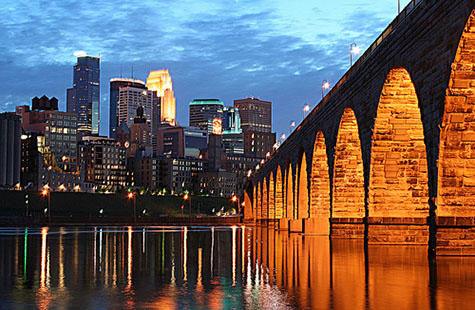 The Minneapolis skyline from the Mississippi river